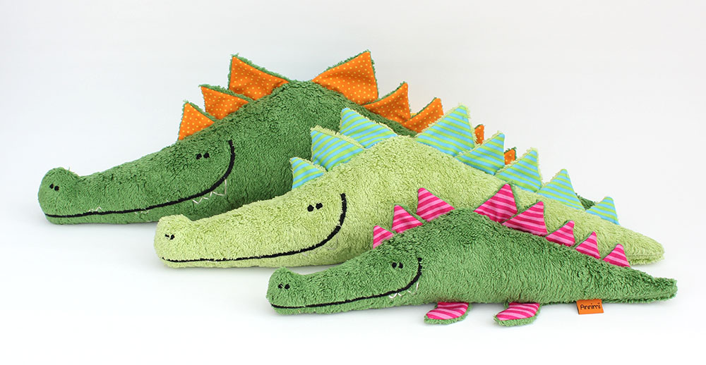 Kuscheltier Hermann das Krokodil von Annimi Gruppenfoto