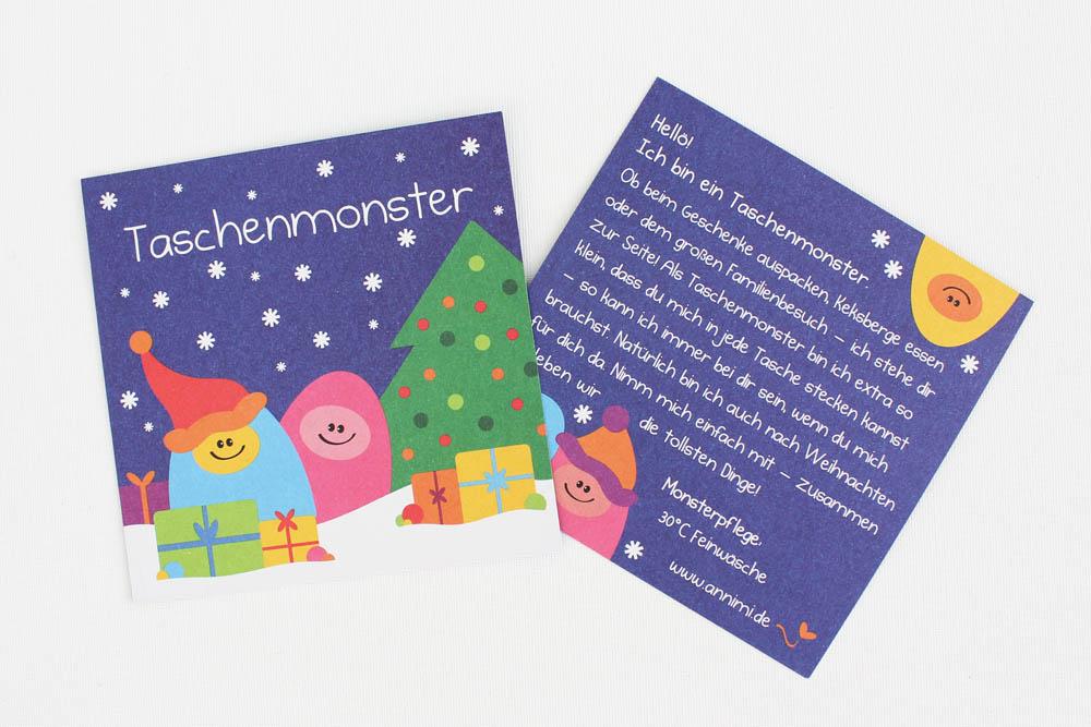 Taschenmonster Karte Weihnachtswichtel