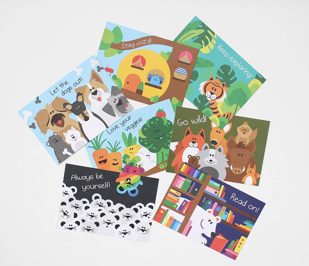 Annimi Karten mit Tierillustrationen und Spruechen