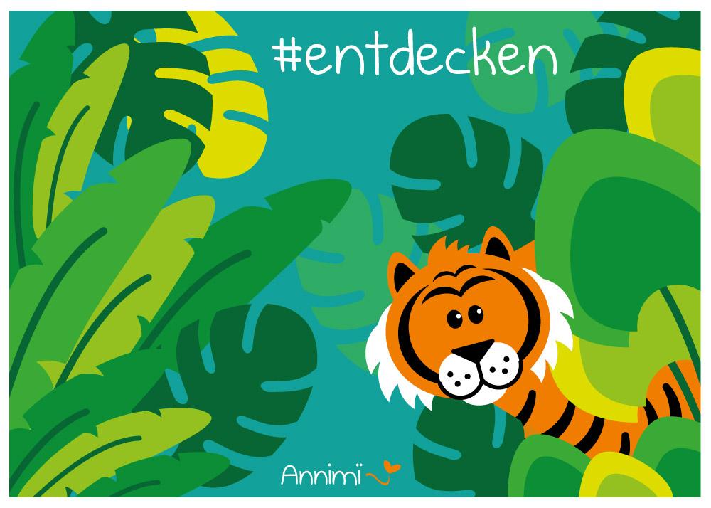 Annimi Tierilllustrationen: Tiger im Dschungel