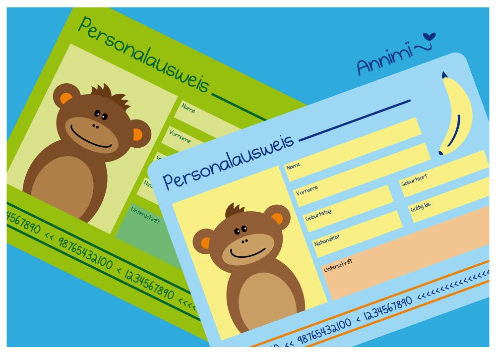 Spiel-Perso von Annimi mit Affen - DIY zum Ausdrucken