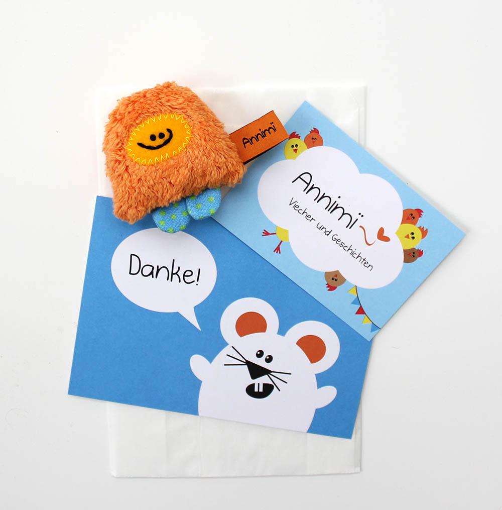 Taschenmonster von Annimi mit Postkarte und Flyer