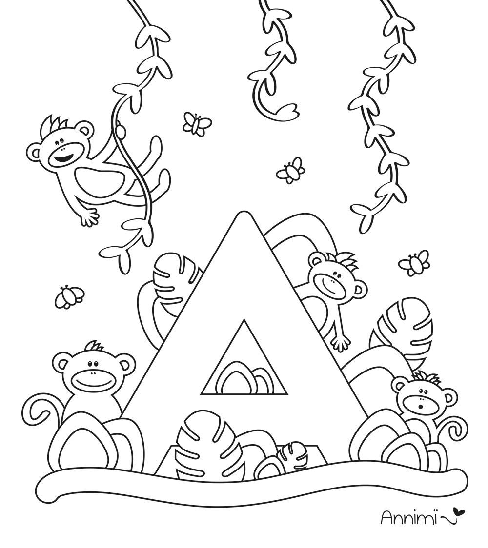 Annimi Ausmalbild Alphabet – Buchstabe A mit Affen