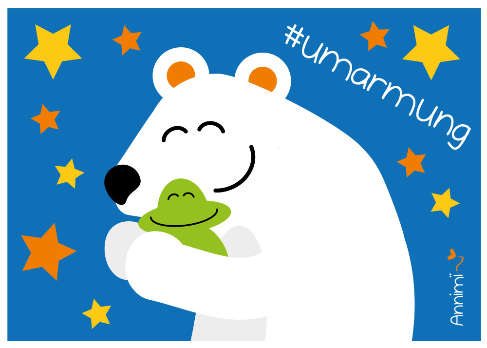 Eisbär umarmt Frosch - Bild fuer Annimi Illustratonschallenge 52goodthings: Umarmung