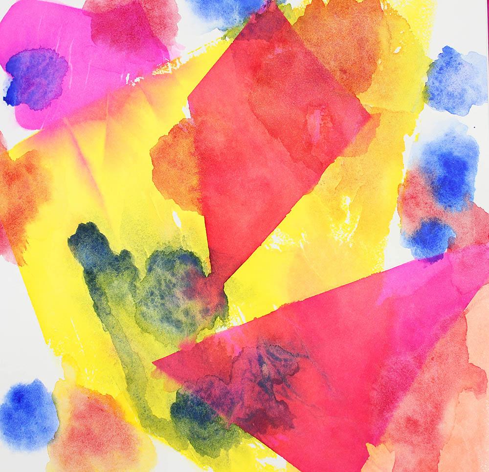 Art journaling mit Aquarellfarben und Seidenpapiertechnik
