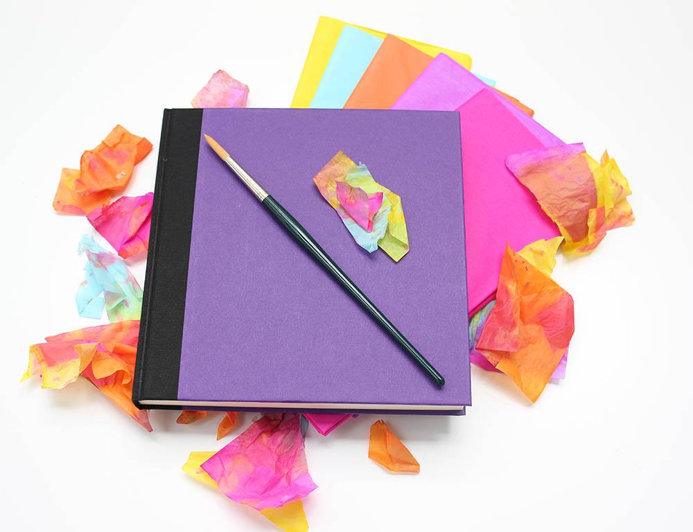Art Journal von Annimi mit Seidenpapier und Pinsel - Art Journaling