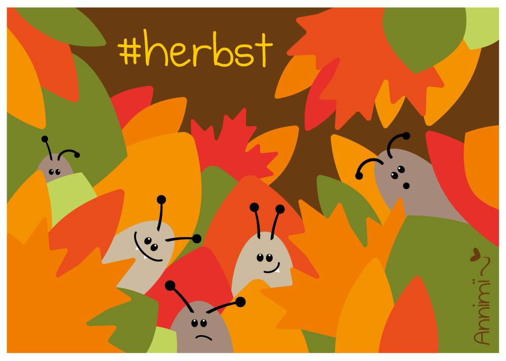 Kleine Kaefer im Herbstlaub - Bild für Annimi Illustrationschallenge #52goodthings Nr. 37: Herbst
