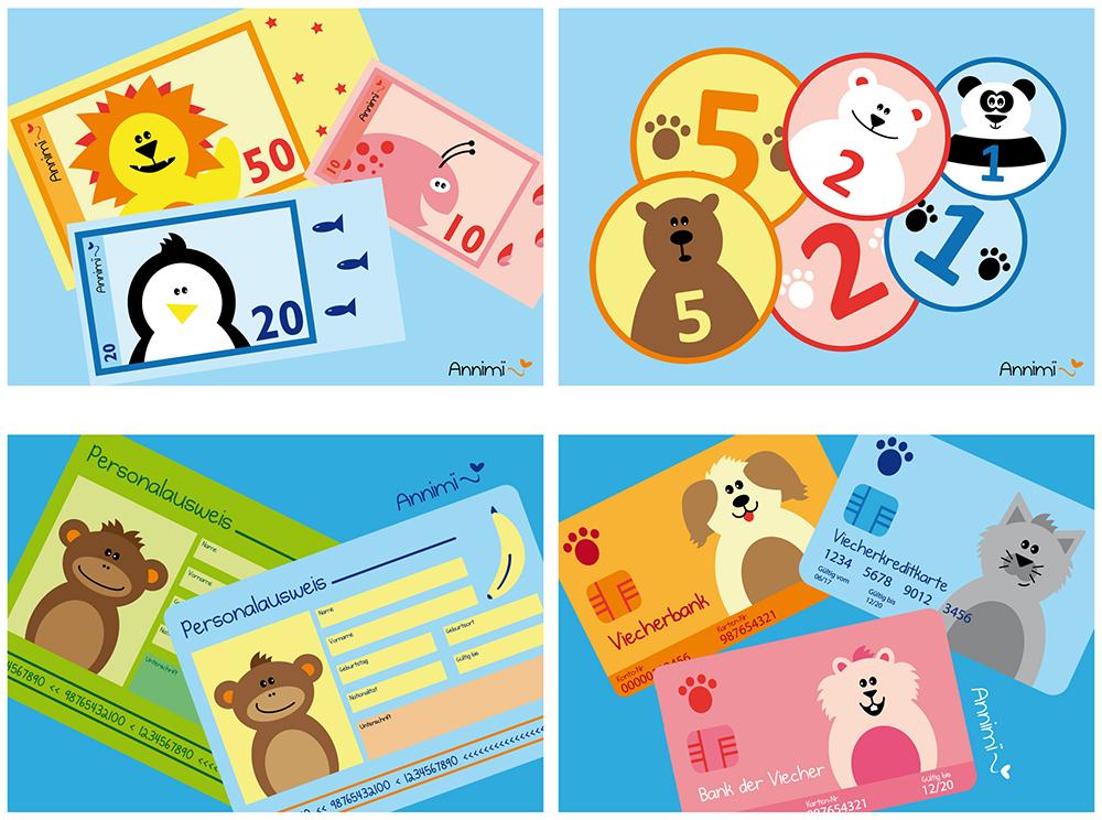 Annimi Tierillustrationen: Produktdesign Spielgeld und Portmonnaie-Set