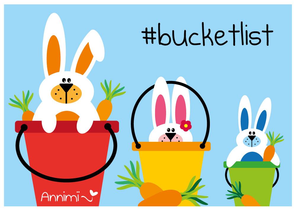 3 Hasen im Eimer - Bild zur Illustrationschallenge #52goodthings Bucketlist von Annimi