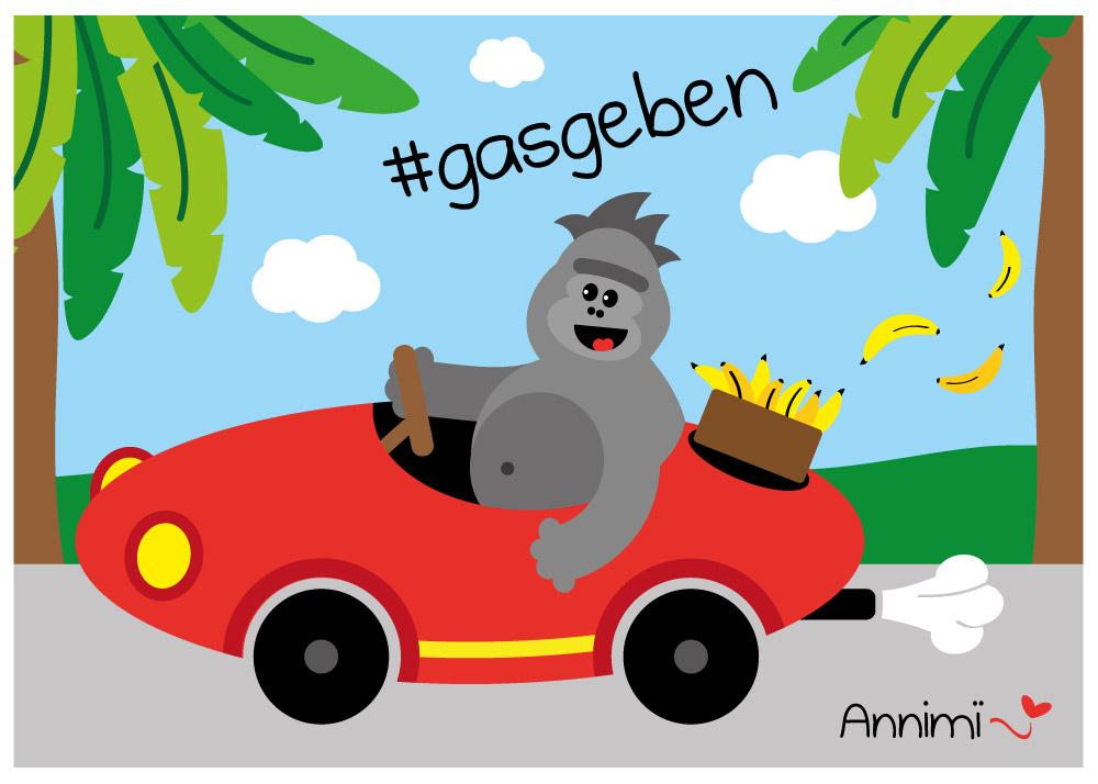 Gorilla im Sportwagen - Annimi Illustrationschallenge #52goodthings Nr. 41: Gasgeben