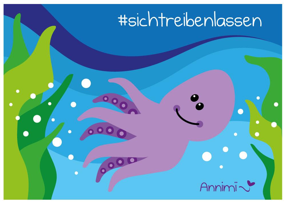 Oktopus unter Wasser - Illustrationschallenge von Annimi #52goodthings Nr. 42: Sich treiben lassen