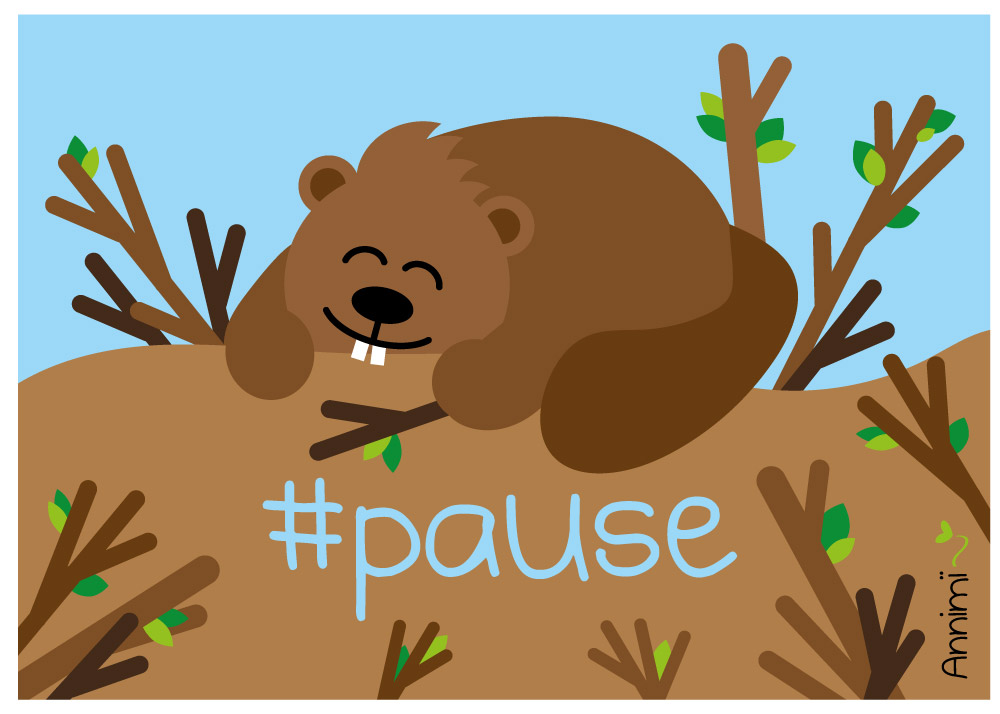 Biber macht Pause - Bild für Annimi Illustrationschallenge #52goodthings Nr. 46: Pause