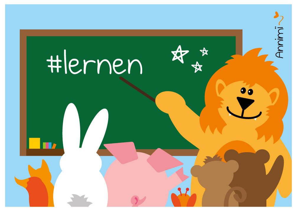 Tiere im Klassenzimmer - Bild für Annimi Illustrationschallenge #52goodthings Nr. 47: Lernen