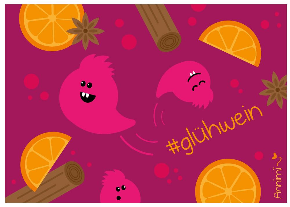 Gluehwein-Geister im Gluehwein - Bild zur Illustrationschallenge #52goodthings von Annimi