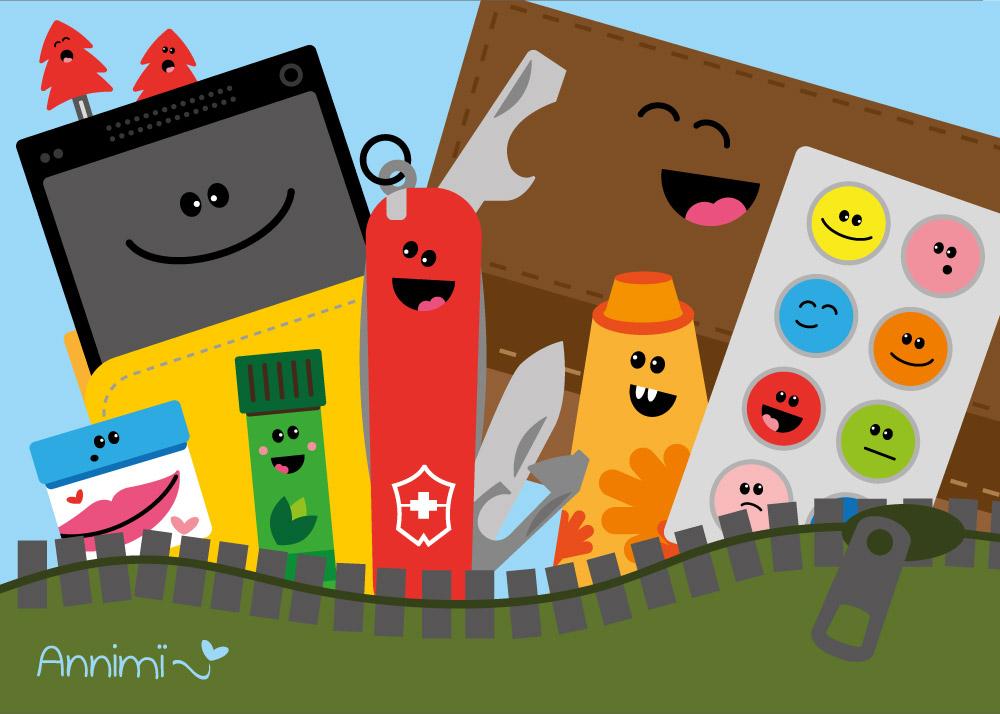 Handtaschen-Inhalt – Illustration Objekte als Charaktere von Annimi