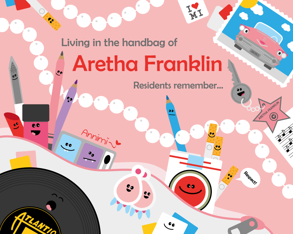 Kinderbuchtitel Living in the handbag of Aretha Franklin von Annimi