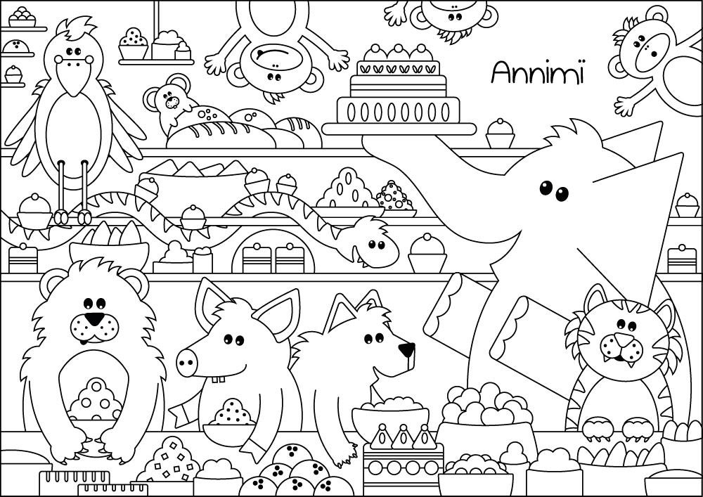 Ausmalbild und Malvorlage Tiere Party von Annimi
