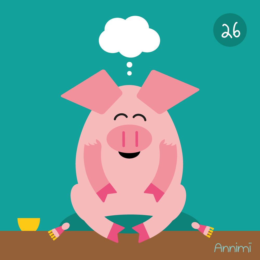 Annimi - Selfcare - meditierendes Schwein