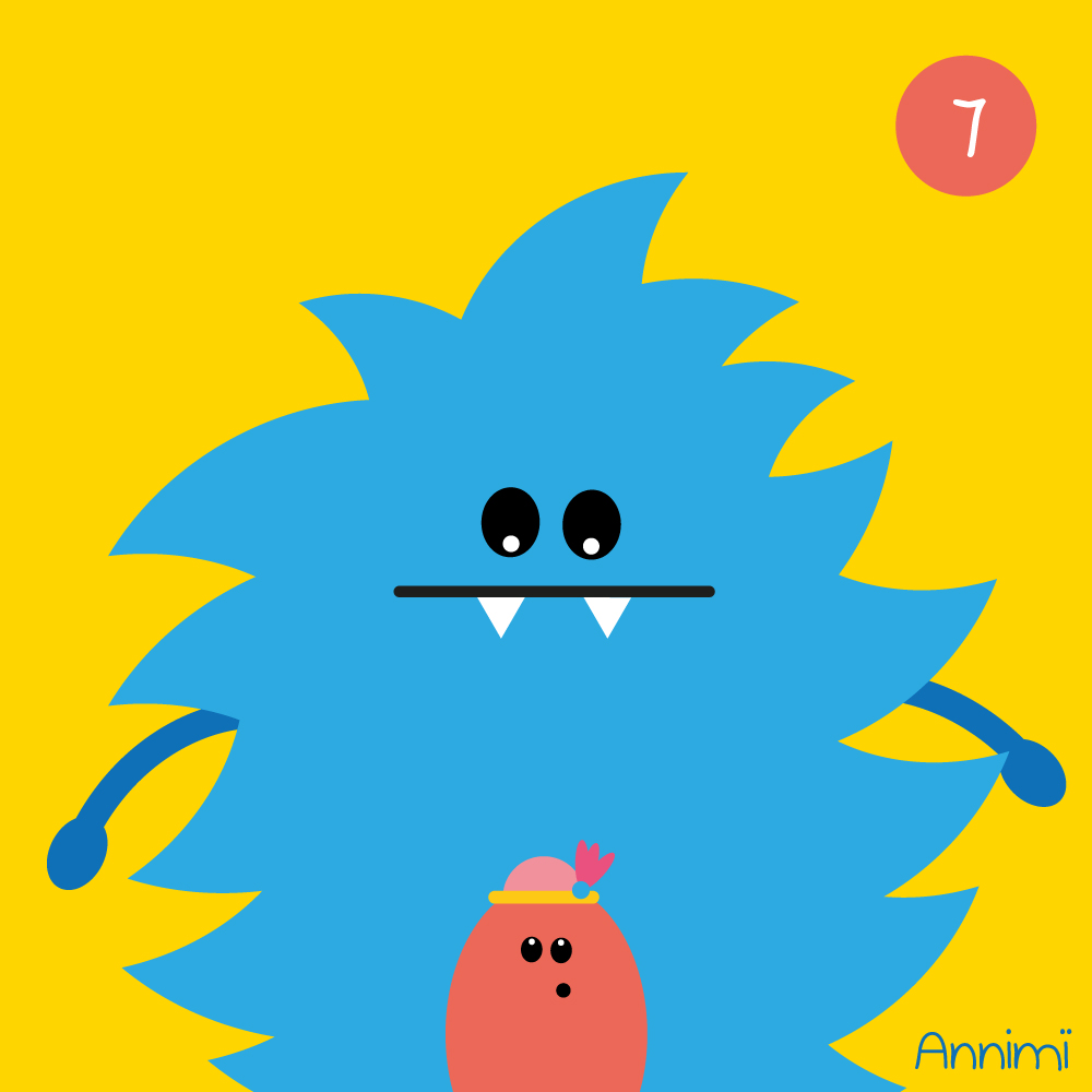 Annimi - Less glam side: Großes Monster steht hinter kleinem Monster mit Hut